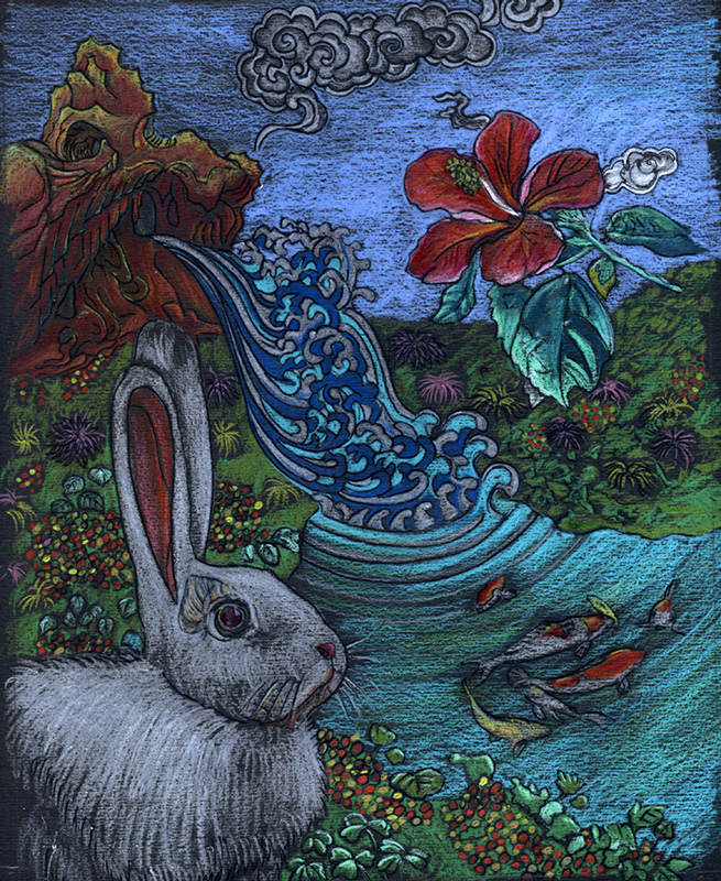 A Rabbit Sniffing Spring