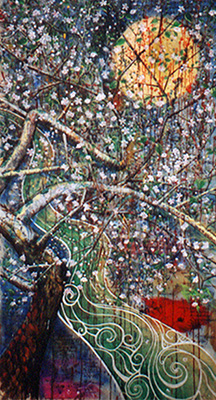 "Darling Can We? Spring Stream    42"" x 75""   acrylic on canvas"
