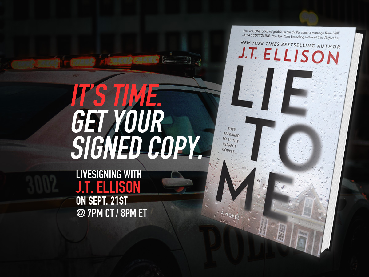 Livesigning with J.T. Ellison 9/21 7 pm CT/8 pm ET