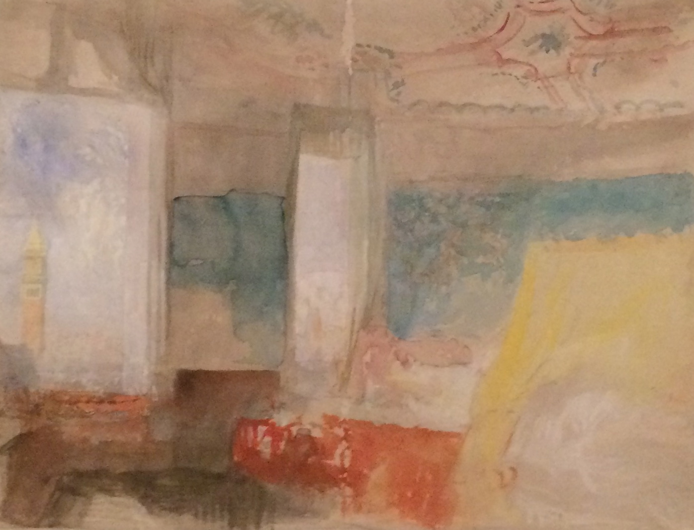 Turner's Bedroom in the Palazzo Giustinian (The Hotel Europe), Venice; Watercolor and gouache on paper ca. 1840