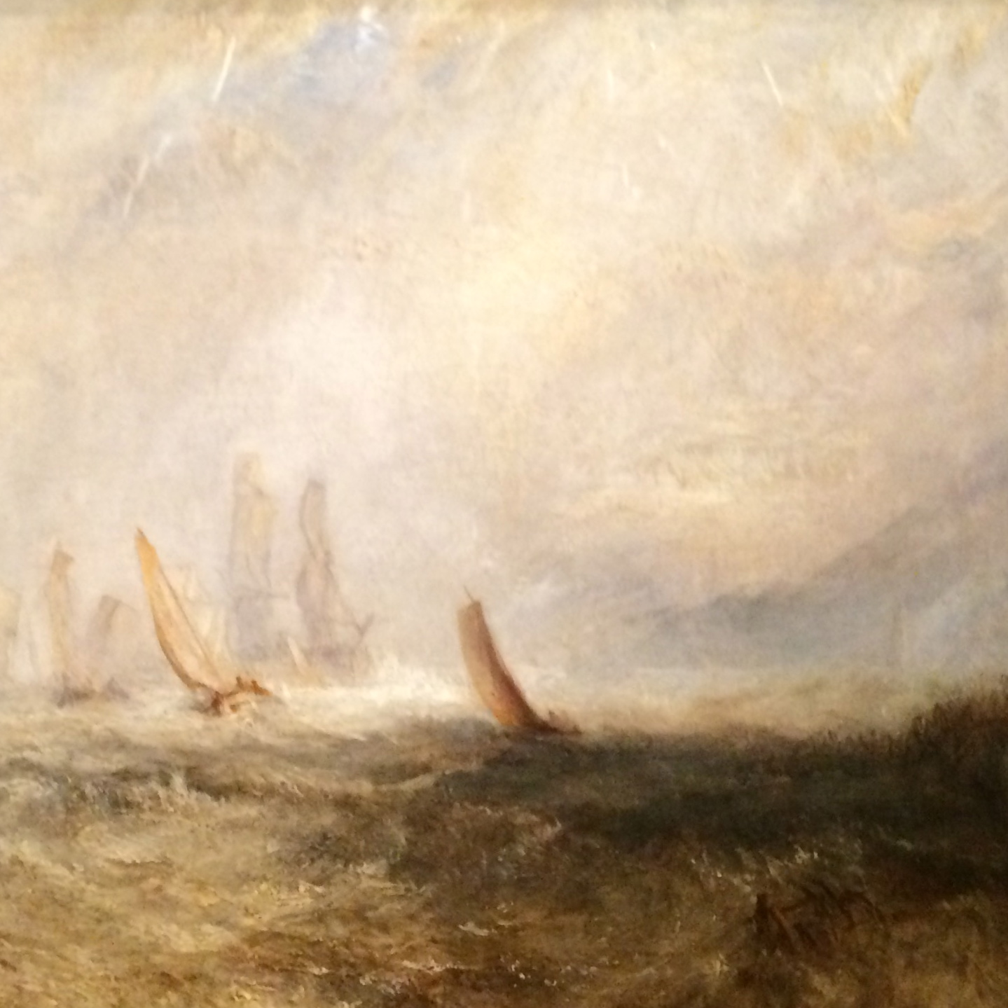 Shipping Boats Bringing a Disabled Ship into Port Ruisdael (detail) Oil on canvas; exhibited 1844