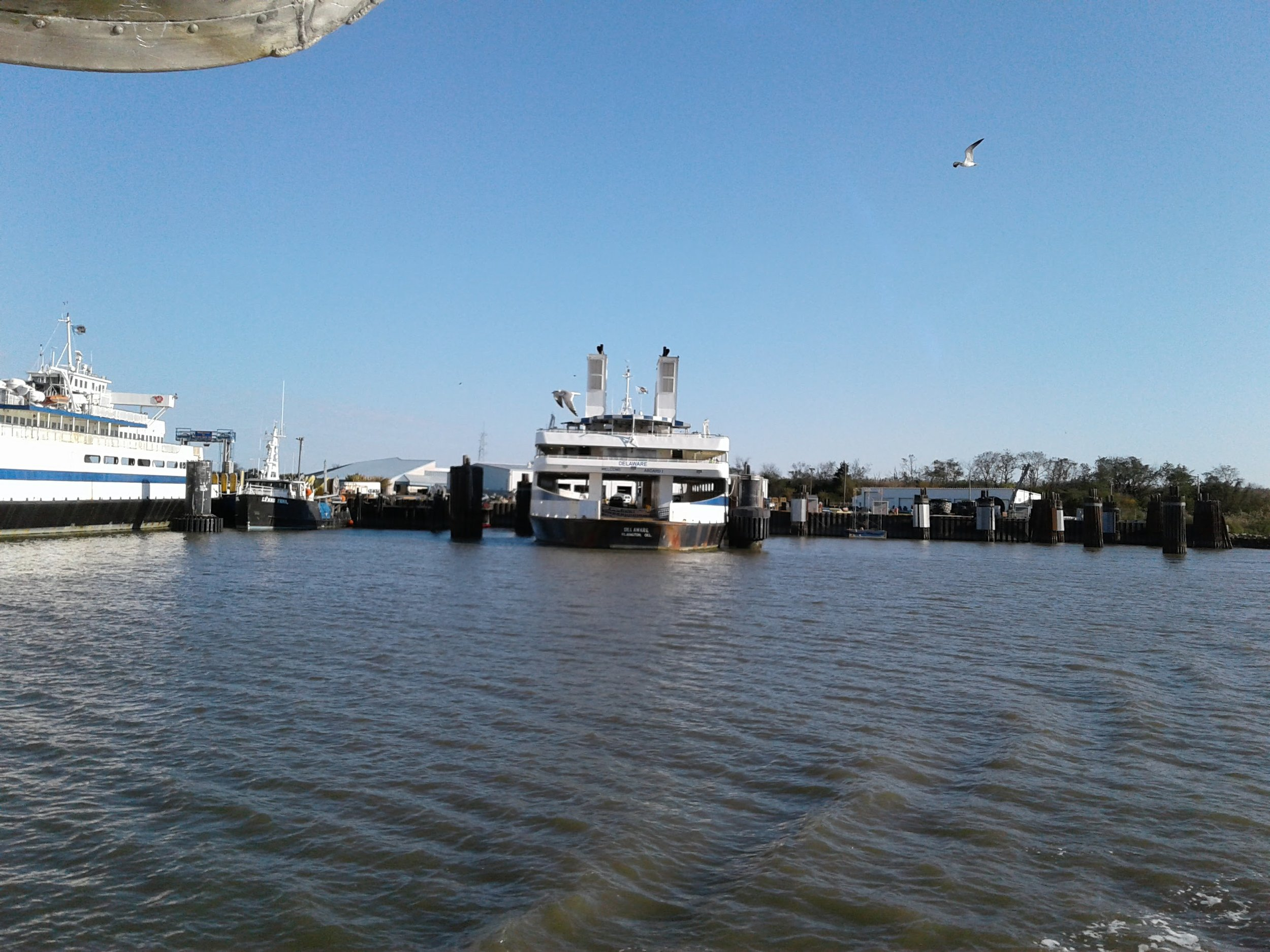 Ferries waiting at the mouth of the Cape May Canal