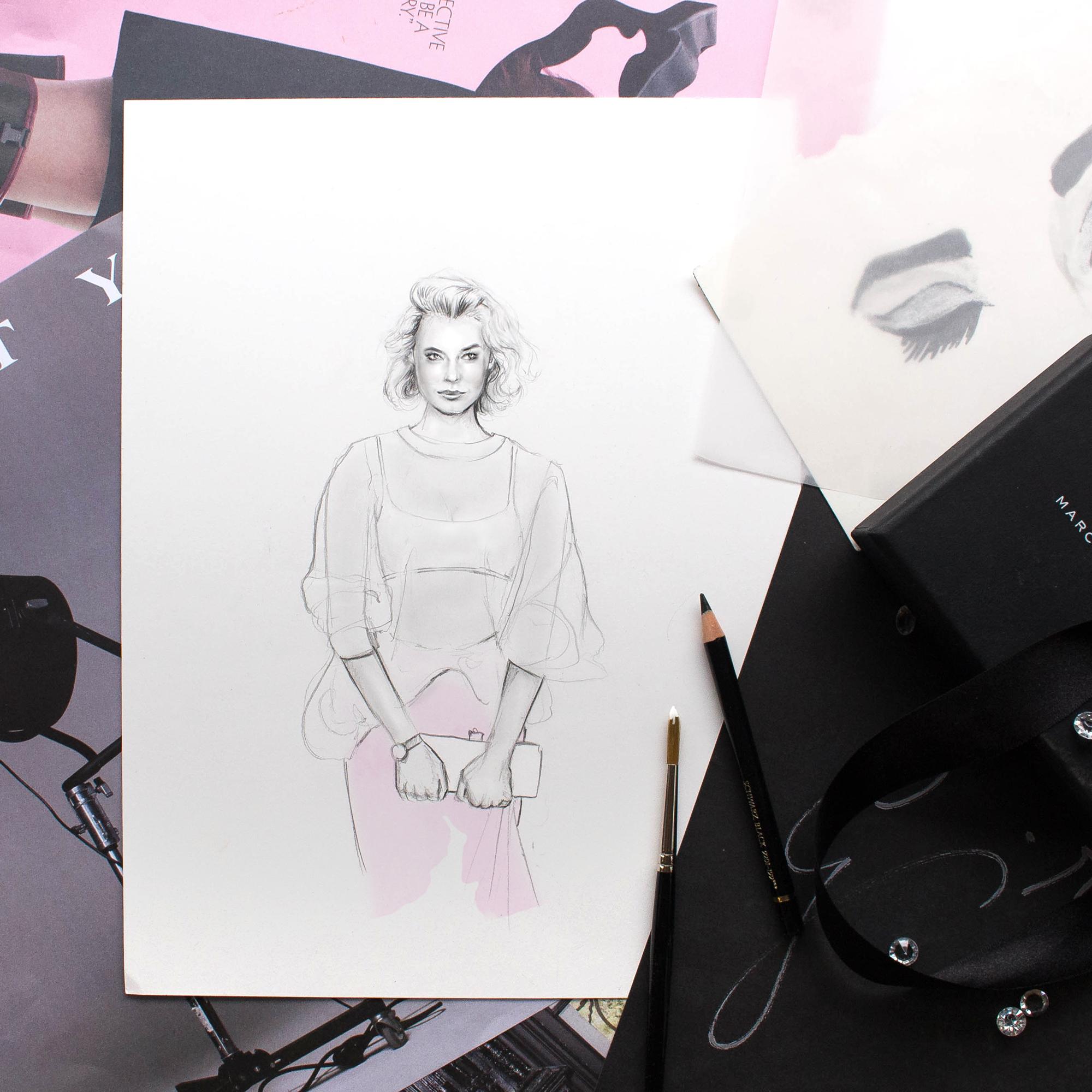 Zanita Whittington Fashion Illustration: Sheer Pink with Toni Maticevski