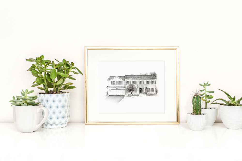 "Custom home sketch, 14""x11"""