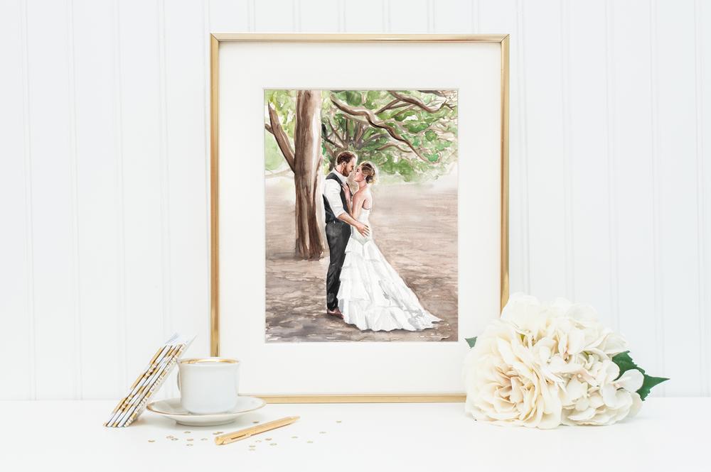 "Custom bridal portrait, watercolor, 11""x14"""