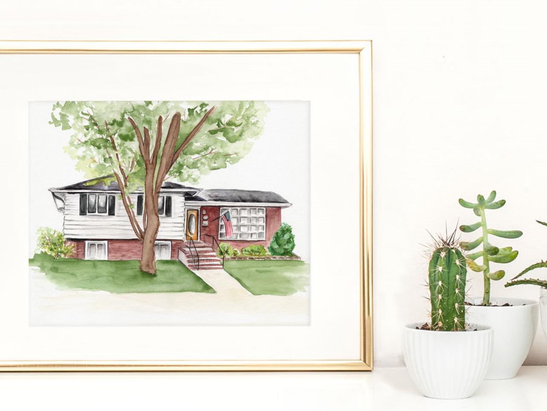 "Custom home watercolor, 14""x11"""