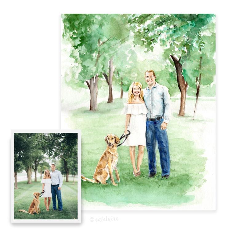 Full color watercolor engagement portrait
