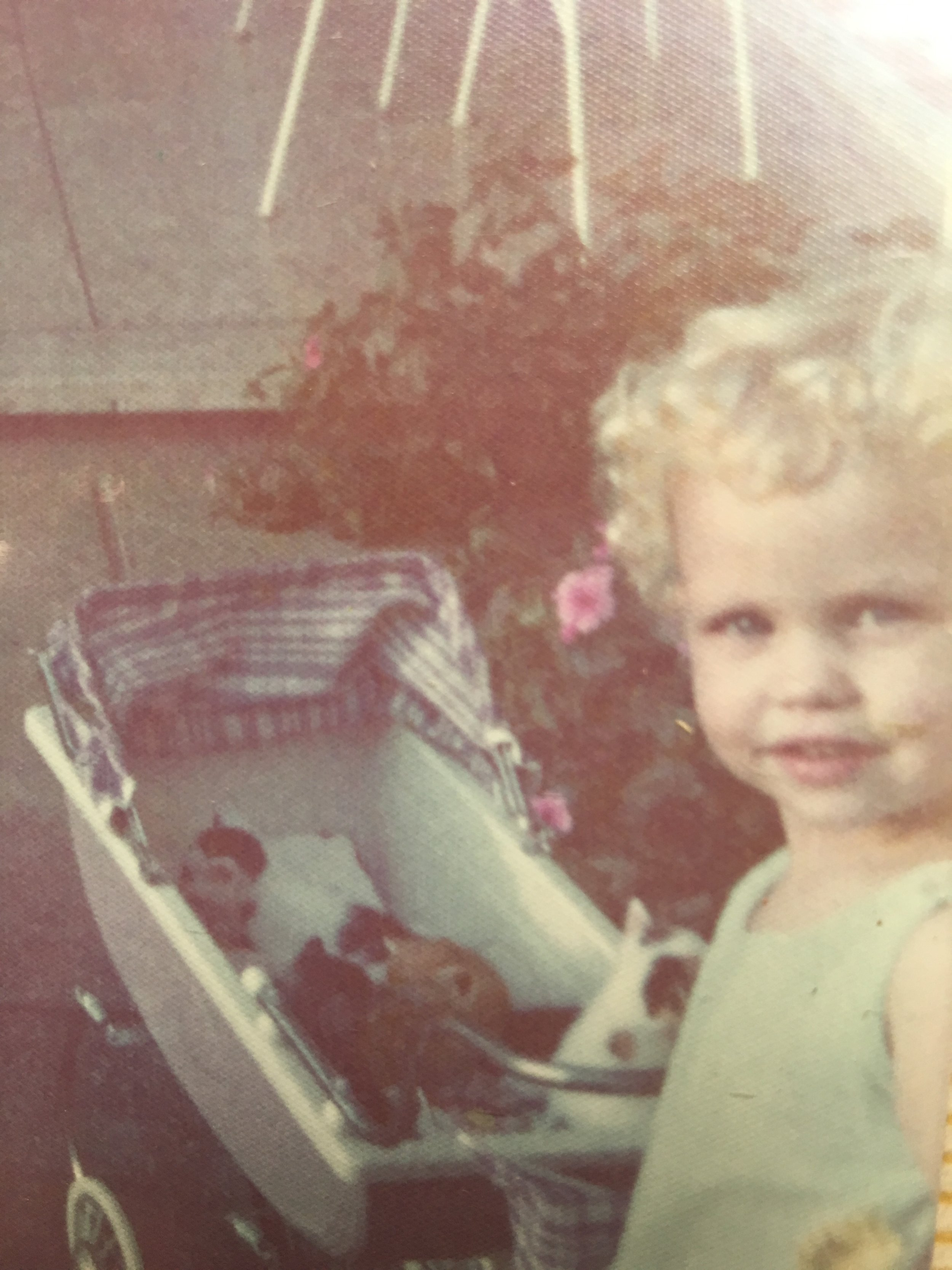 I'm three here --- with my baby pram and a litter of kittens!! Heaven!!