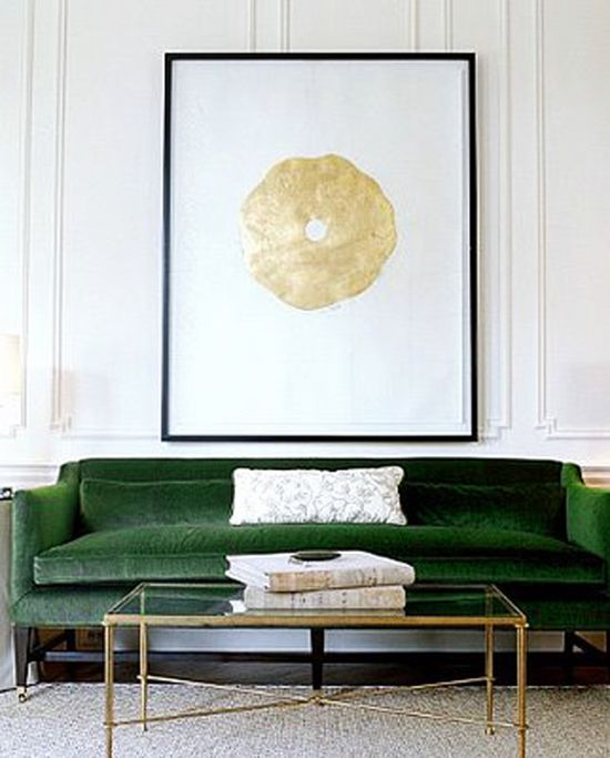 I can't escape my love of emerald couches like this one from  Melisa Mercier . And that coffee table? Perfection.