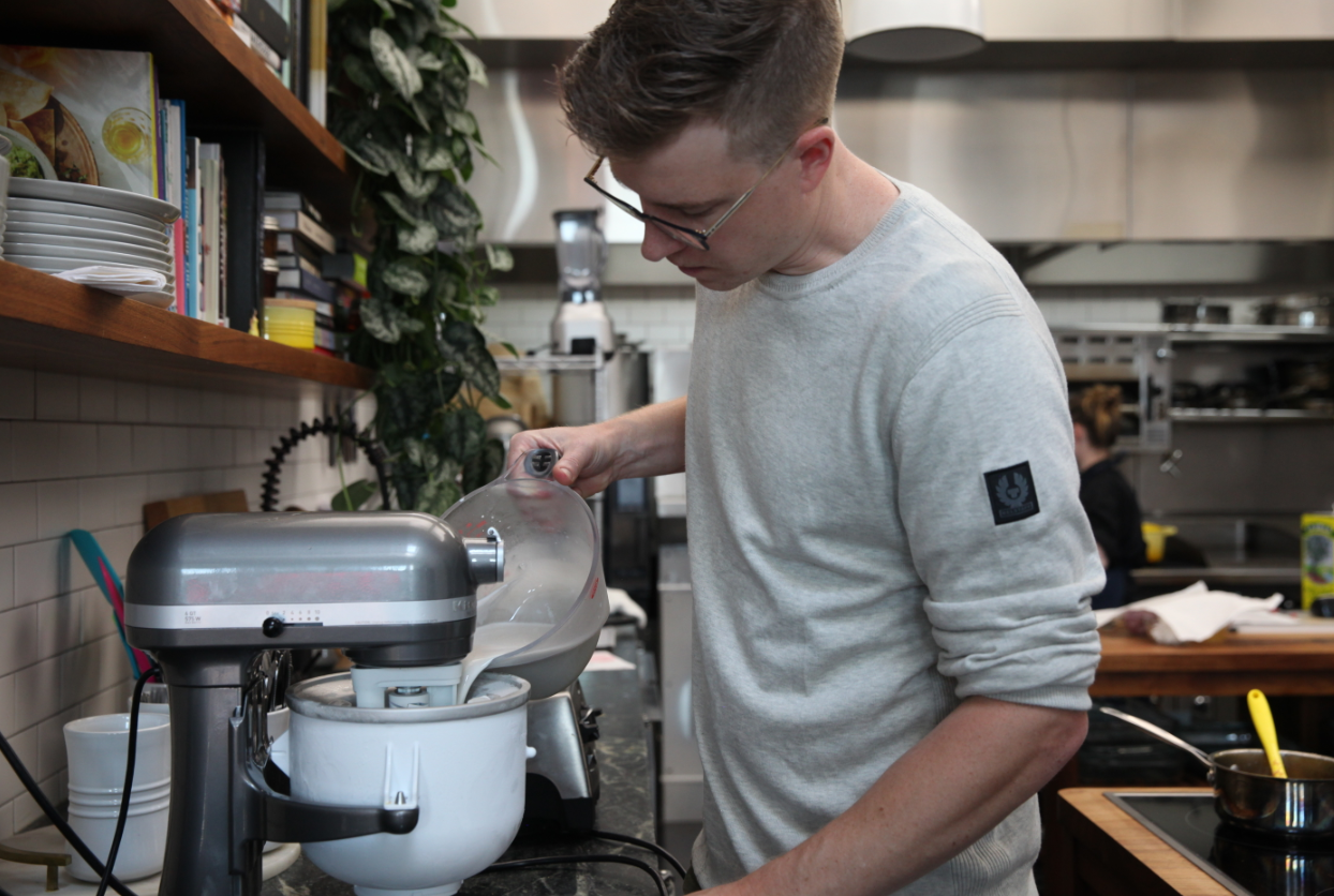 """No matter what flavors and additions you might want to throw into your own batch, ice cream is nothing without a good base. """" This is the easiest ice cream base you've ever seen ,"""" Malek says of his version."""