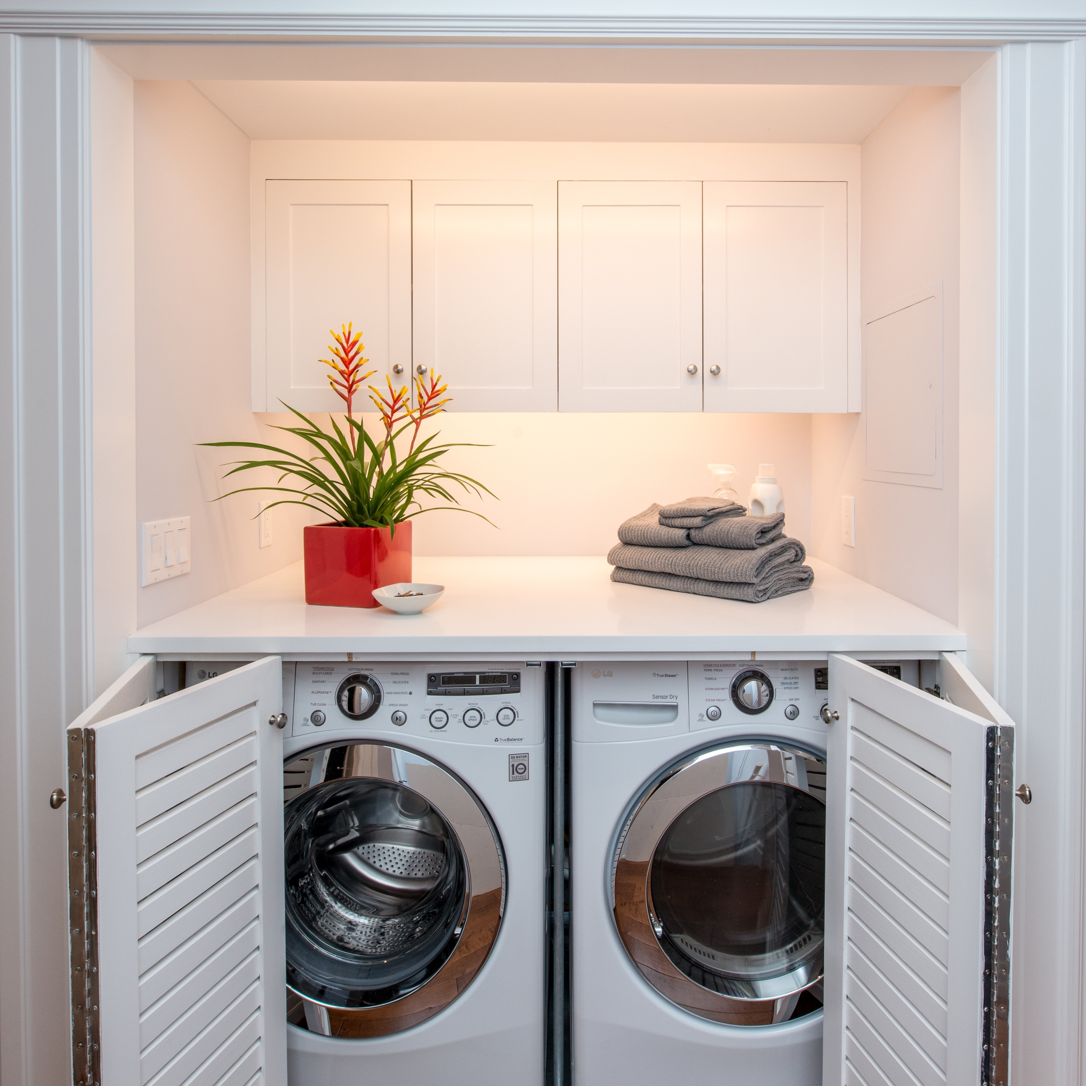 San Francisco Duboce Triangle Edwardian Laundry Nook   NARI Members involved in this project include     General Contractor: Jeff King & Company    Electrical Fixtures: Berkeley Lighting    Photography: Treve Johnson Photography