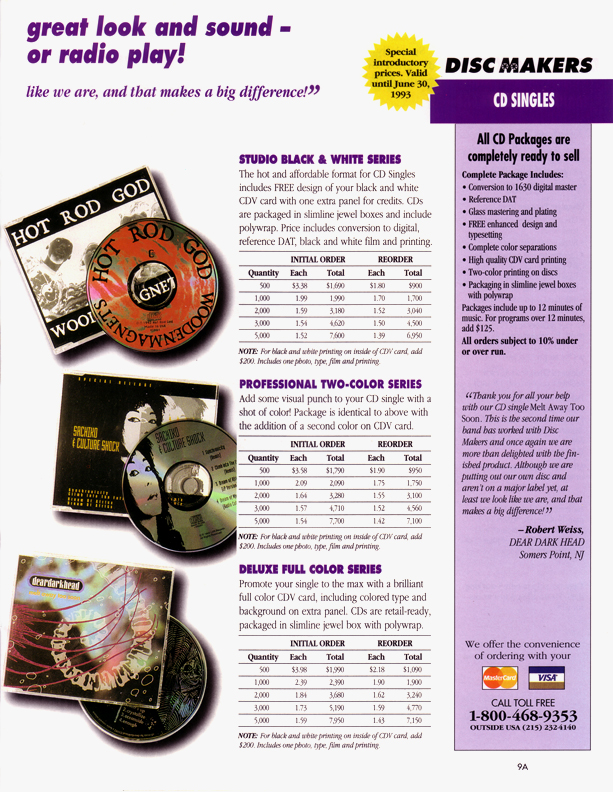 Discmakers Catalog 1993, Melt Away Too Soon pictured at bottom