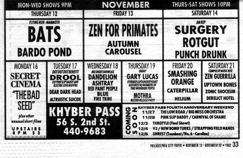 Khyber Pass, Philadelphia, PA 11/17/92