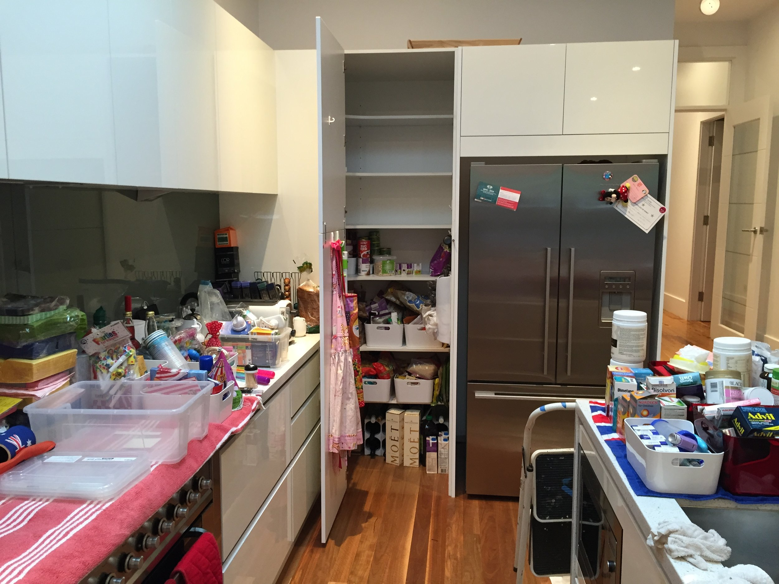 Once the kitchen cupboards were sorted, we moved on to the pantry.