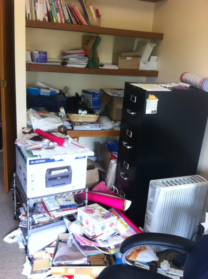 Study that had been used as a dumping ground for many years. Despite the clutter, it was relatively straightforward to organise.