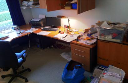This was one of my first study sessions. This room had a LOT of paperwork to file!