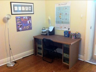 I am not sure the study desk was ultimately used by the client or her children, but it was a lot neater! I used it more as a storage device because it was unlikely to be used often (the children did their homework in the kitchen zone - as often happens).