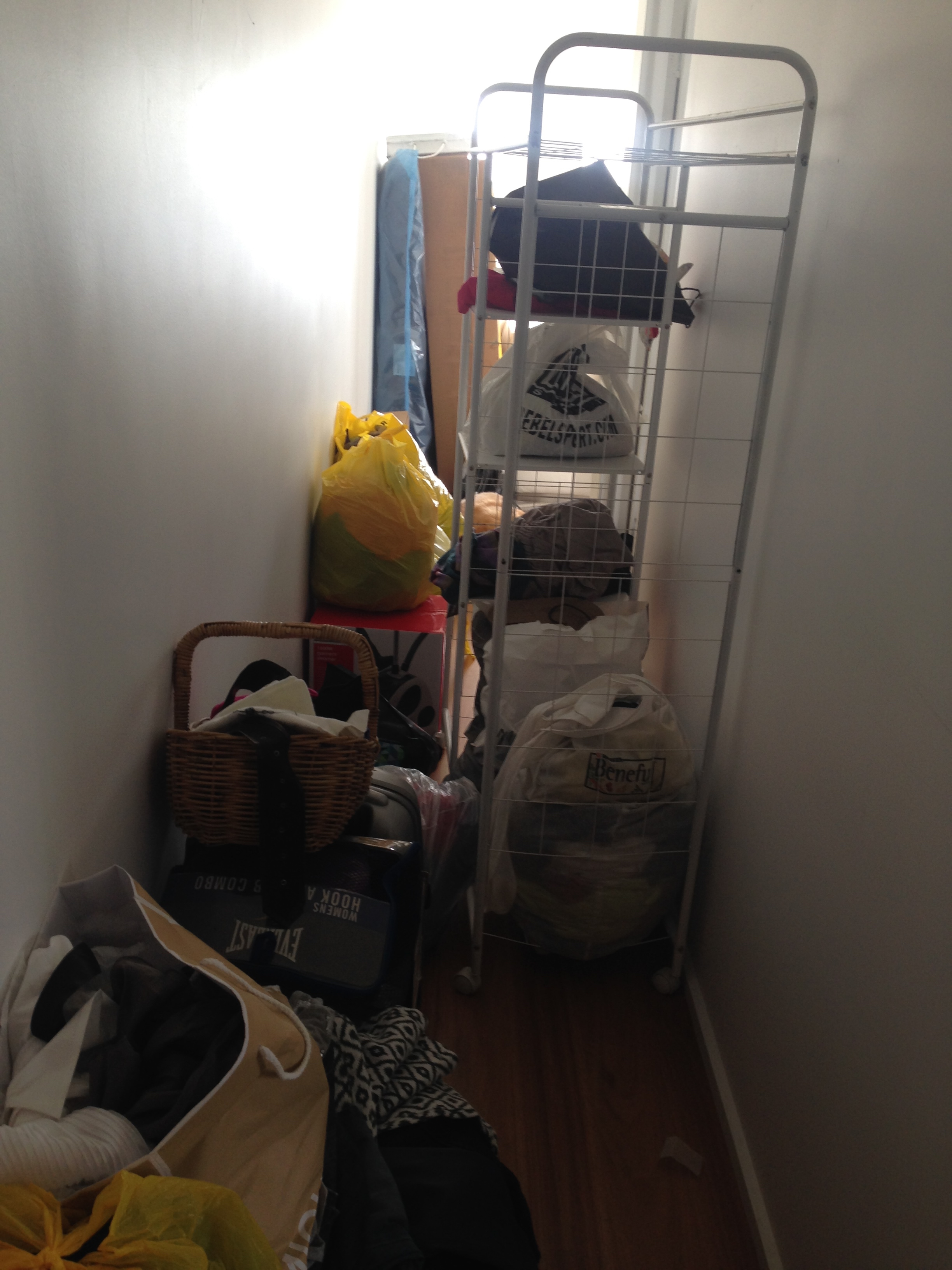 The hallway was also a storage space. Which made it challenging to move through the space.