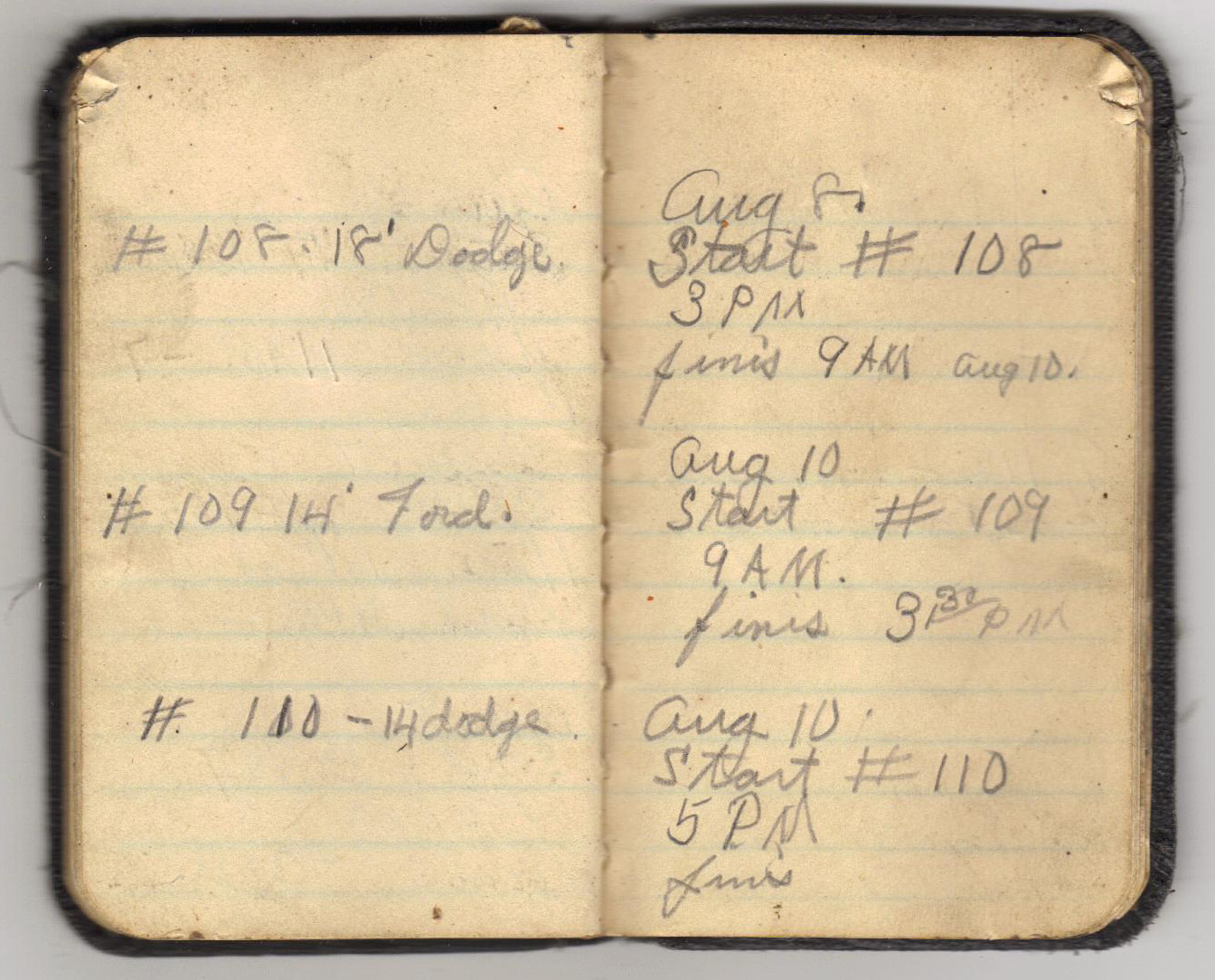 Pages from Ollie Eager's 1936 handwritten log book.