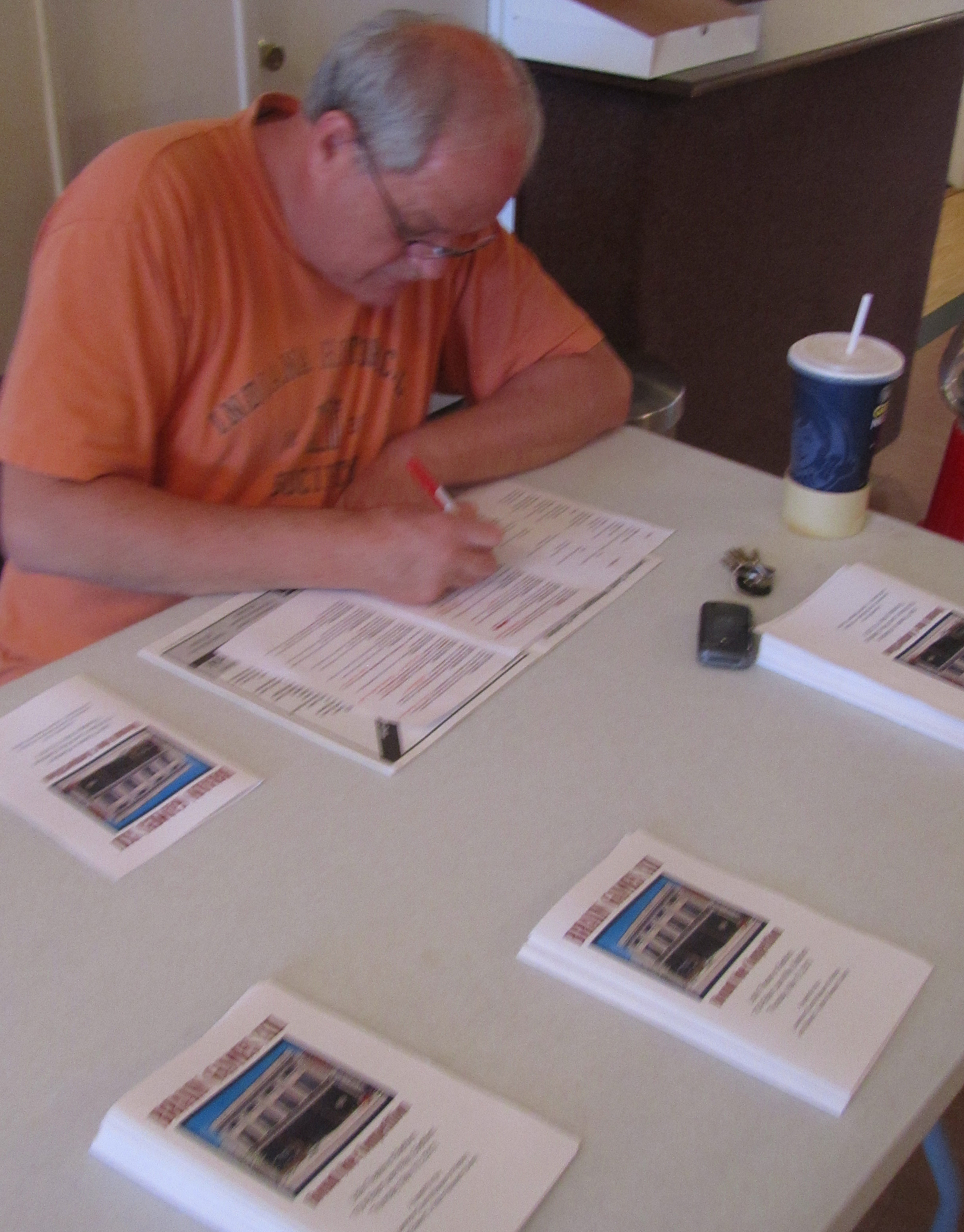 Jeff Routh is checking in the participants.