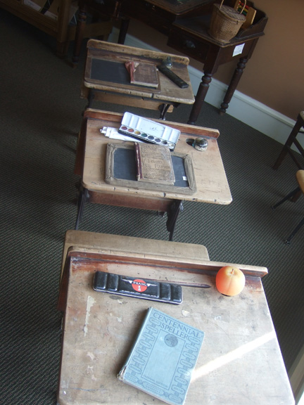 In early schools, students used slates and chalk to practice writing and arithmetic. During the 1950s, the Prang watercolor boxes were used during art class.