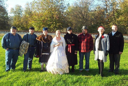 "Re-enactors brought ""Huron Haunts"" to life.   l-r: Greg Baker as Jesse, a working man from 1910.  Aaron Baker as Elmer, a working man from 1910.   Lisa French as Eleanor, a local Huron woman in 1920s.   Abigail Natalie Gentry as Mrs. Kerlott, a young wife during the Civil War.  Arthur Cross-Najafi as Lieutenant Kerlott, a young Union officer.  Lewis Maudlin as Jim Terrell, a working man in his 40's in 1886.  Becky Buher as Ida, a local 1920's Huron woman.  Adam Roberts as George Wolford, an 18-year-old man in 1886.   Narrators : Jeff Routh, Jim Buher, and Rowena Cross-Najafi  This event included: 1. A  HISTORIC WALK  with costumed re-enactors, beginning at the Huron firehouse.  2. A delicious  SUPPER  of soups, cornbread, and other good things, prepared by the 90-year-old Huron WTK Club.  3. A  HAUNTED TALK  by Believe Paranormal about their investigations into Huron sites."