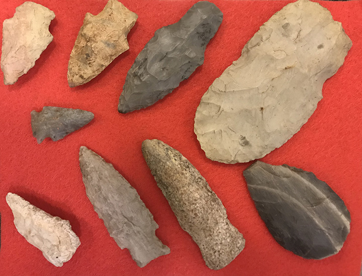 Among the museum's collection of Native American artifacts are these tools donated by Ethel Speer. The knife and arrowheads were found in the Heltonville area.Jan. 2018—Courtesy photo by Becky Buher