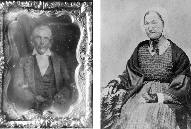 BEDFORD'S FIRST RESIDENTS: Samuel D. Bishop (left)—carpenter and builder in both Palestine and Bedford.    Hulda Daniels Bishop, her husband, Samuel, and their children were Bedford's first residents.