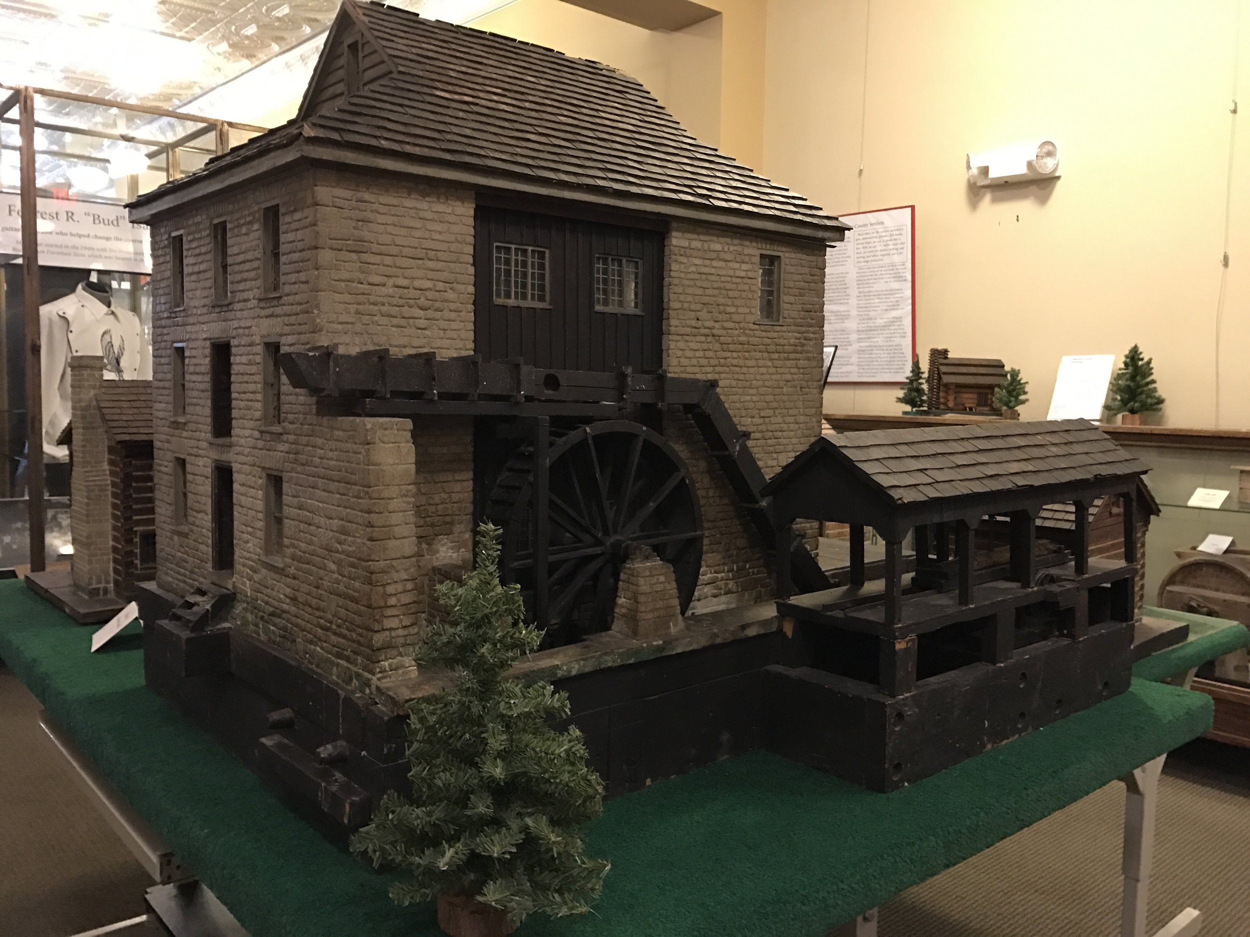 Spring Mill State Park employees Joe Horvath, Lawrence Lawyer and Louis Green constructed this Spring Mill gristmill replica in 1934. It has been exhibited at the Indiana State Fair and the Indianapolis Art Museum. It is located at the Lawrence County Museum.