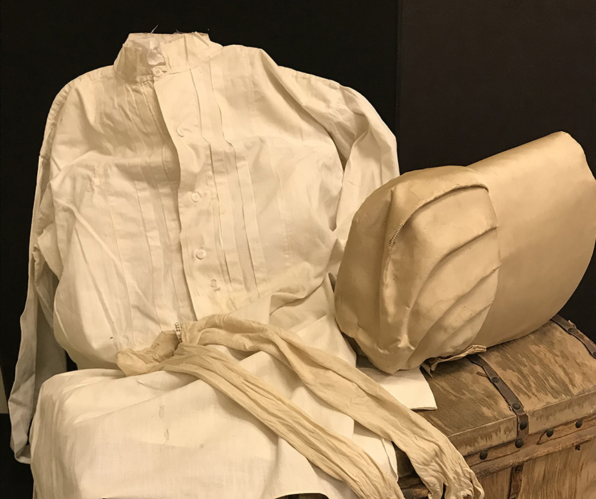 In 1820, Hanna Clark brought this deerskin trunk when she arrived to marry Reuben Davis. Hanna wore the silk bonnet and gloves, and he wore the white tucked shirt at their wedding. Their homestead cabin was located near Popcorn. The items will be on display in the pioneer section of the museum gallery through Dec. 2018.