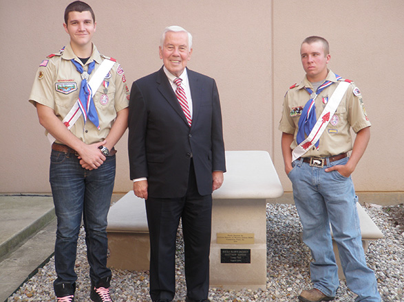 20011—In this picture, Sen. Lugar, an Eagle Scout himself, congratulates Boy Scout Troop 343 Eagle Scouts Matthew Bayens and Darren Phillips. The limestone table and benches in the background were provided as Matt Bayens' Eagle Scout project.