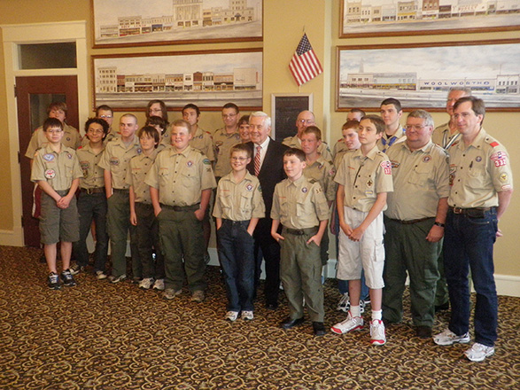 2001—While at the museum, Sen. Lugar also is pictured with Boy Scout Troops 332 and 343.