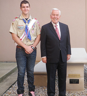 Matthew Bayens and Sen. Richard G. Lugar - 2011—Eagle Scout Matthew Bayens (left) and Sen. Richard G. Lugar, also an Eagle Scout, are standing in front of Bayens' Eagle Scout project, a limestone table and benches located at the museum's north entrance.Link: Back to Museum Corner articles list