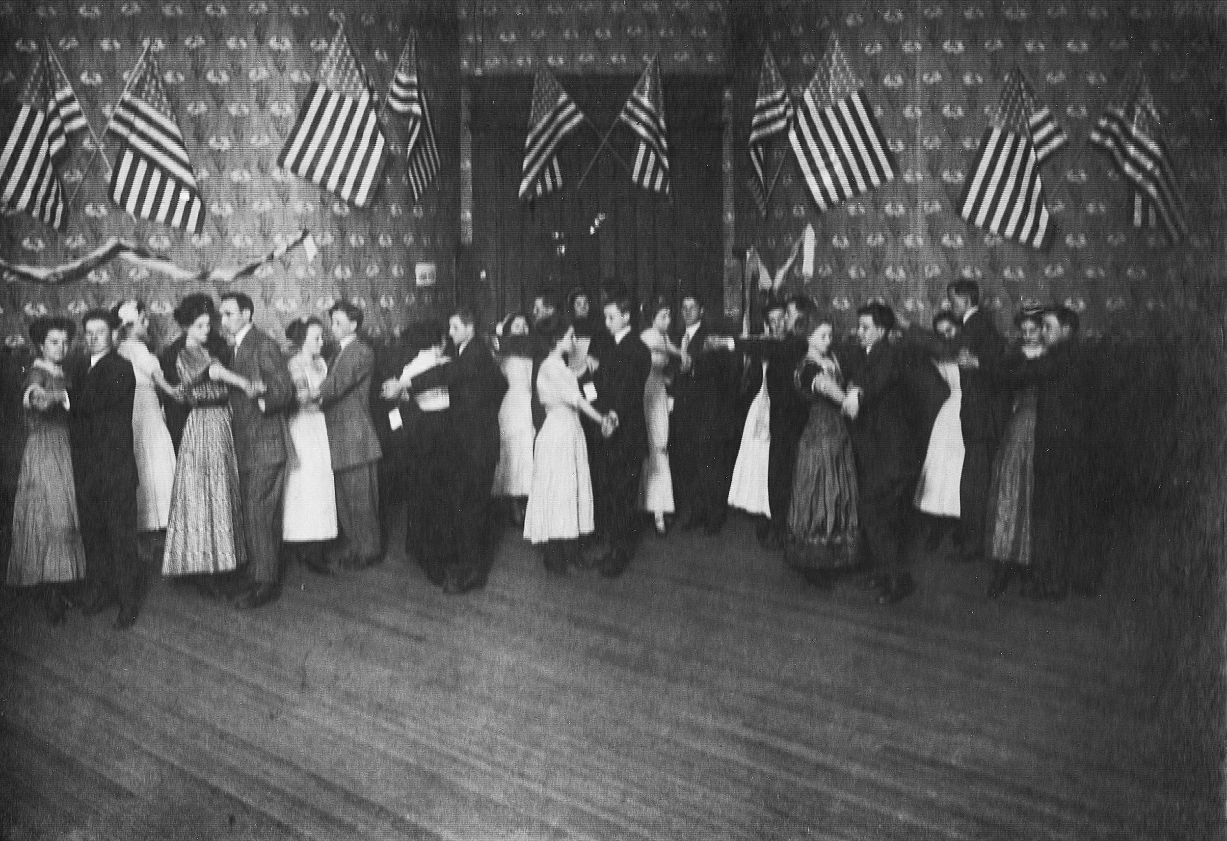 "Dance at ""Wilson Hall"" about 1909. The photo features Wilma Harris with Geroge McNable, Florence Norton with an unknown man, Mable Parker with Voyle Armstrong, Fannie Wallheiser with Von Graham, Anna McMahan with Wilbur Owens, Mattie Sears with Doc McNabb, and Craigie Gainey with Peany Gainey. In very back, pictured are Dorothy Rariden, Carol Kuteleback with John Holmes, Josephine Dunihue with Stanley Ikerd, Jessie Fultz with Ralph Foster, Mary McCune with Vayne Armstrong, and Louise Stoessel with Kent Bass. ( Lawrence County Museum / Courtesy photo)"