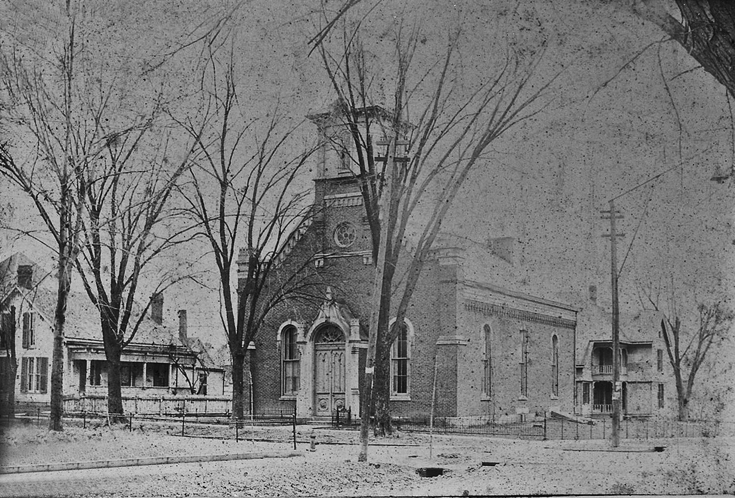In August, Peggy Julian presented the 200-year history of the First Presbyterian Church in the county. In 1870, local builder, Thomas Stevens, replaced the church's 1840 building with the new brick and stone building shown above. (Courtesy photo Lawrence County Museum)