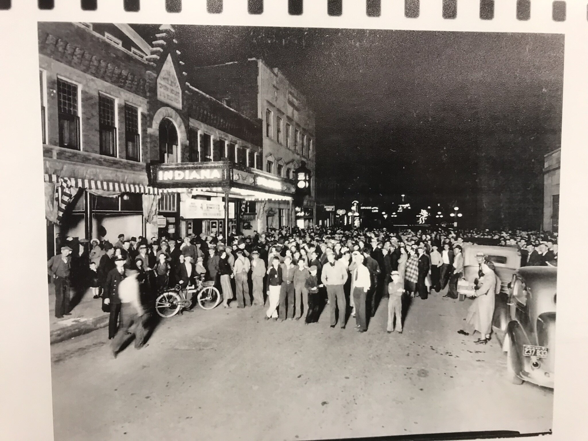 Fair attendees enjoyed trying to identify this picture. Answer: Indiana Theatre on Bedford's 15th Street in the 1930s. People had gathered in hopes of winning a car..
