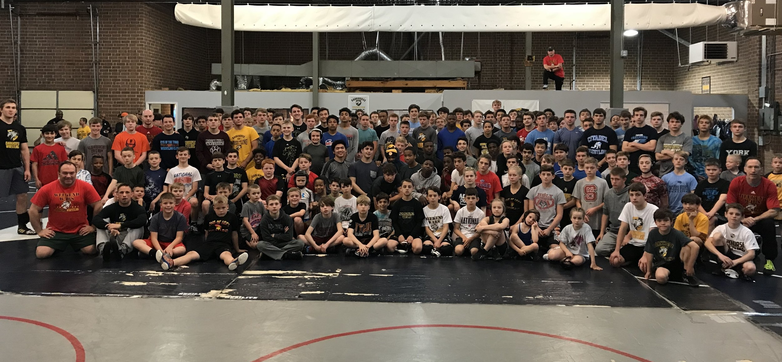 """SUMMER WRESTLING MAKES WINTER CHAMPIONS!!!  Darkhorse Wrestling's summer series, """"The Weekend Wars"""", has become the best off-season wrestling opportunity in North Carolina! This event is for wrestlers of all ages and consists of a series of informal """"live matches"""". There are no brackets, no officials, no score keepers, no trophies, NO WEIGH-INs and no coaching! Weekend Wars is ONLY about wrestling - live wrestling, with unfamiliar partners. This summer, on a combined basis, hundreds of kids have wrestled thousands of matches at the Wars - all in a supervised and fun environment. Check our EVENTS tab for 2018 Weekend Wars dates and times!!"""