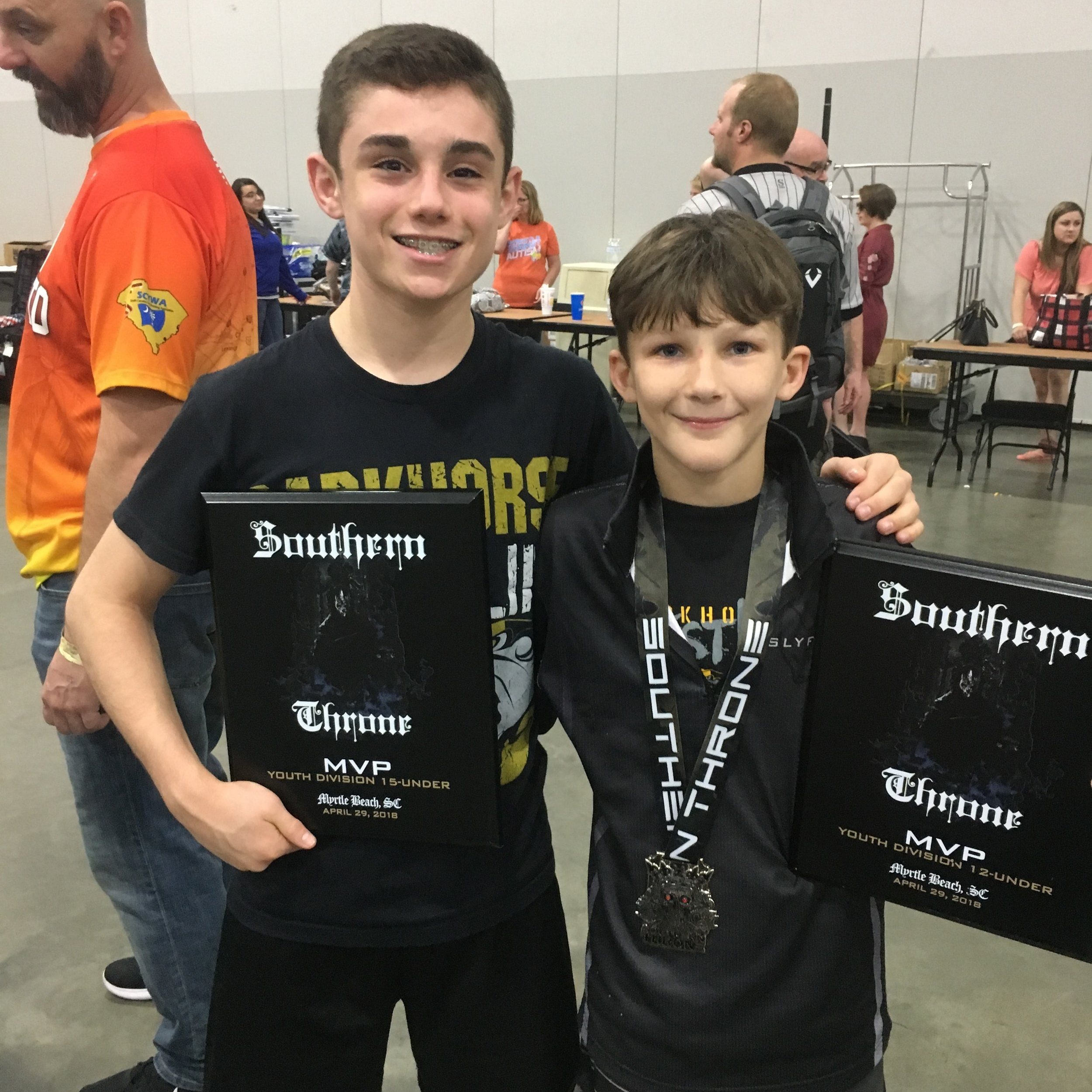 Congratulations to Kyle Montaperto (15U) and Zeno Moore (12U) - each earned Dual Tournament MVP honors at the 2018 NUWAY Southern Throne tournament in Myrtle Beach!