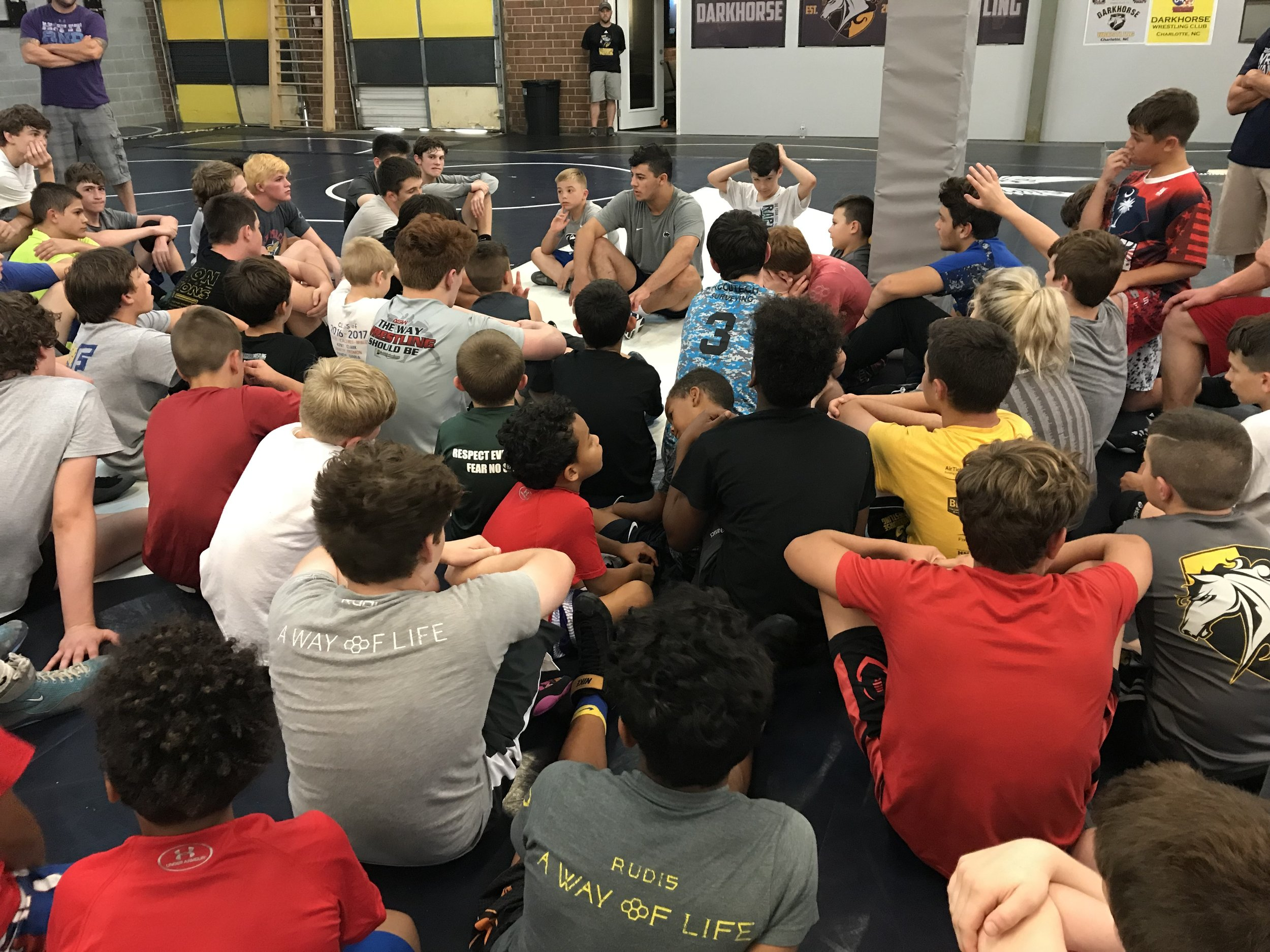 Vincenzo Joseph talking with Darkhorse campers about the importance of mental preparation.