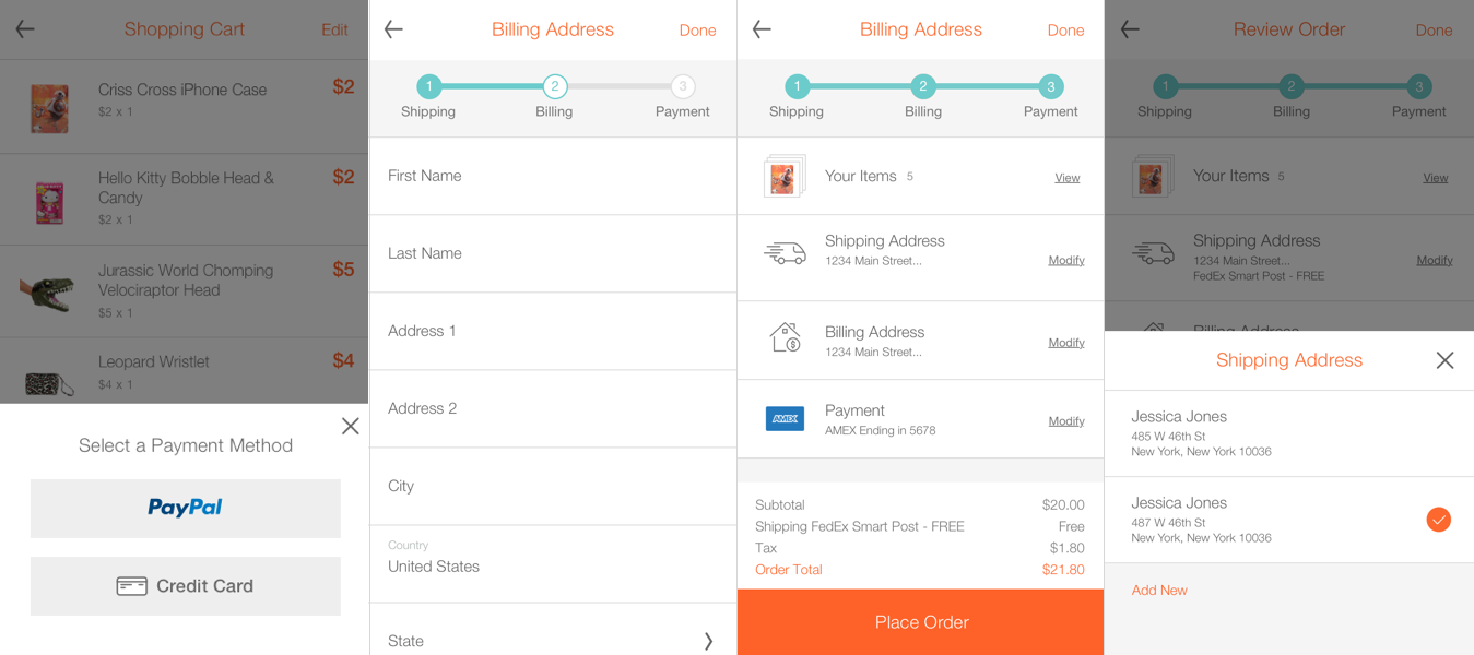 Some of the key screens from Hollar's new iOS checkout.