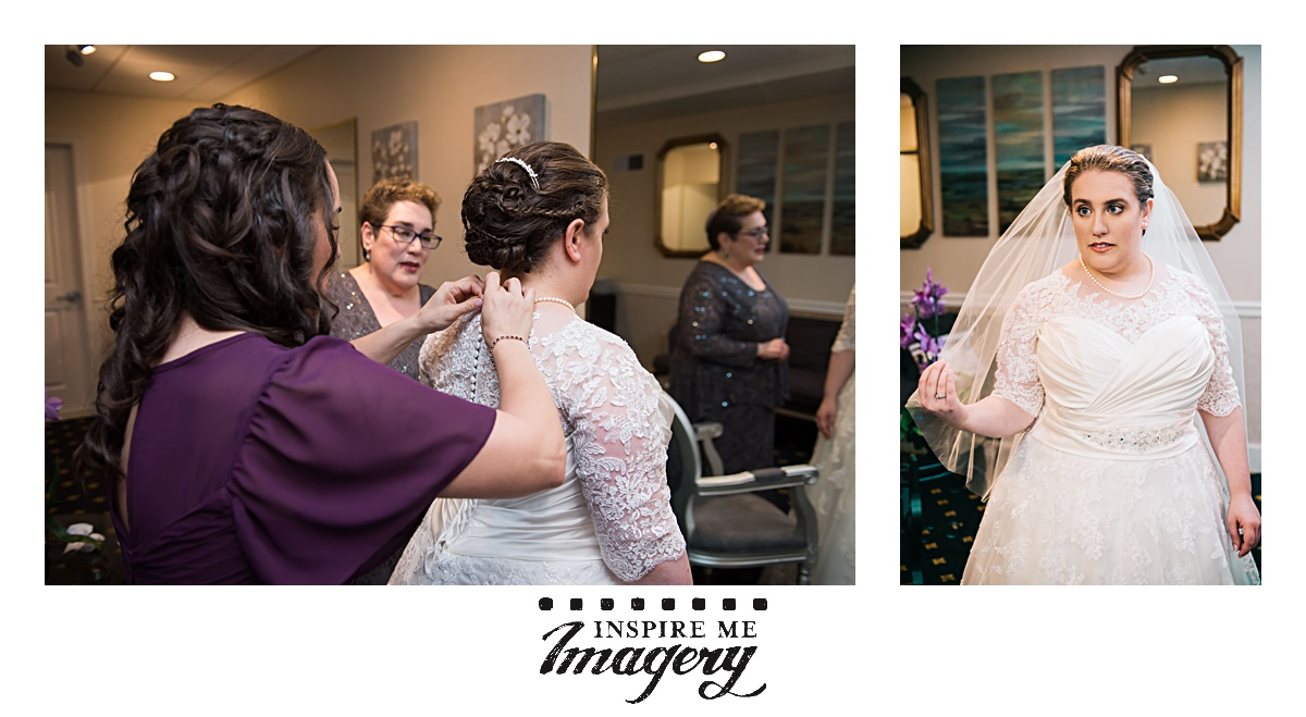 The bride's sister finished fastening up the dress, and then the bride (the kallah, in Hebrew) takes a moment to let things sink in--this is really her wedding day!