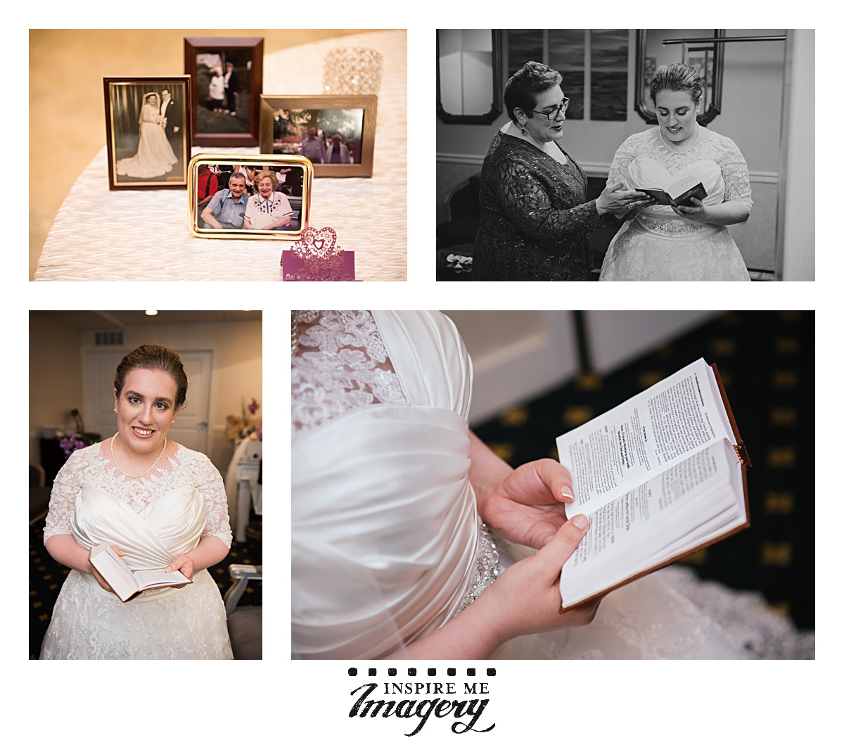 Family is so important, and a little place during a wedding with photos of loved ones we've lost is always a touching thing to see. You'll also see our kallah reading over some prayers before the day really gets rolling. It's good to have a moment to ground yourself before the chaos starts.