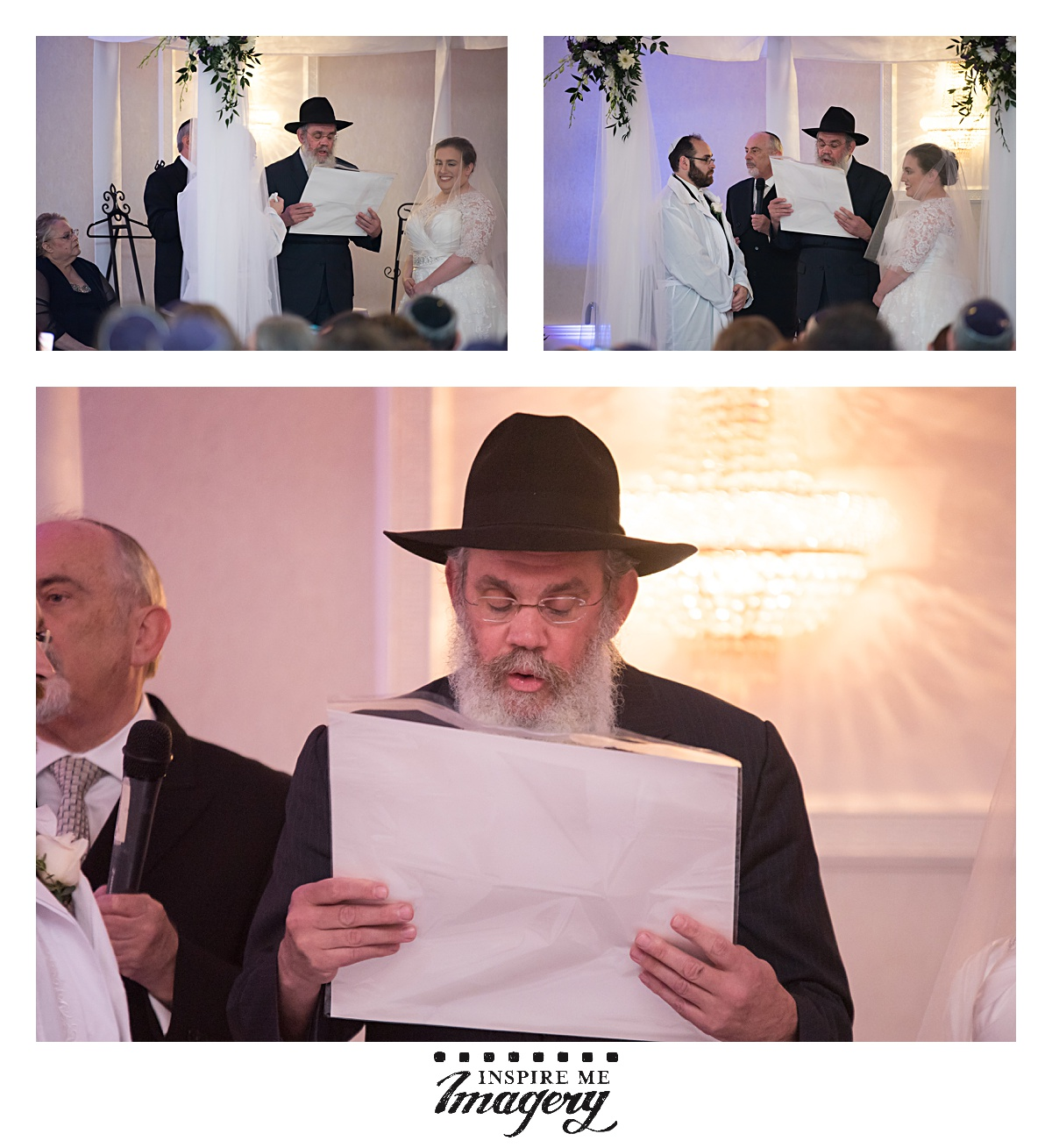 Rabbi Posner, of Chabad Boston, reads the ketubah during the wedding ceremony.