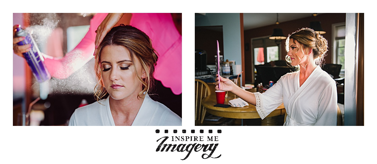 Portraits taken just as the finishing touches are being done for the bride's hair and makeup.