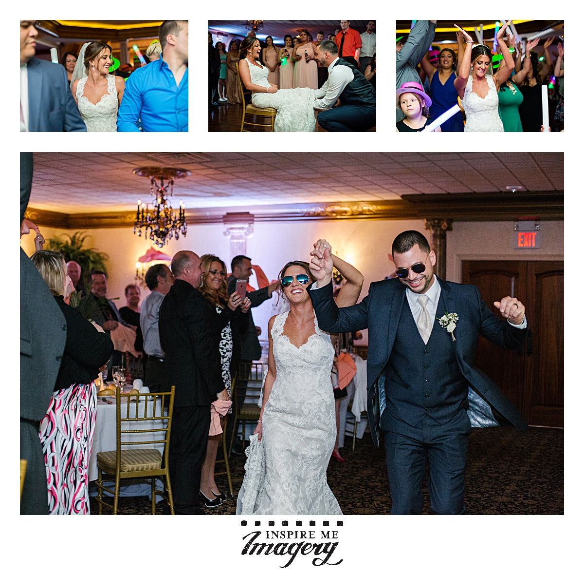 Loved that the bride and groom entered the reception rocking these sweet sunglasses.