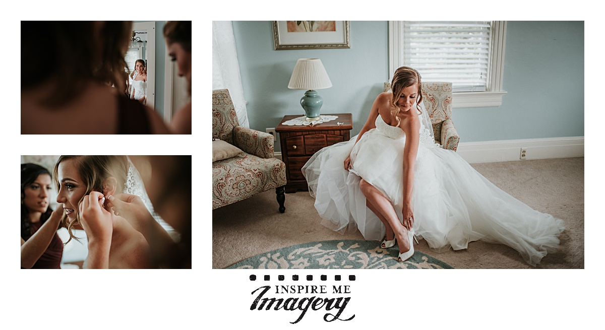 Brides always look beautiful as they gently reach down to adjust the heel of their shoe.