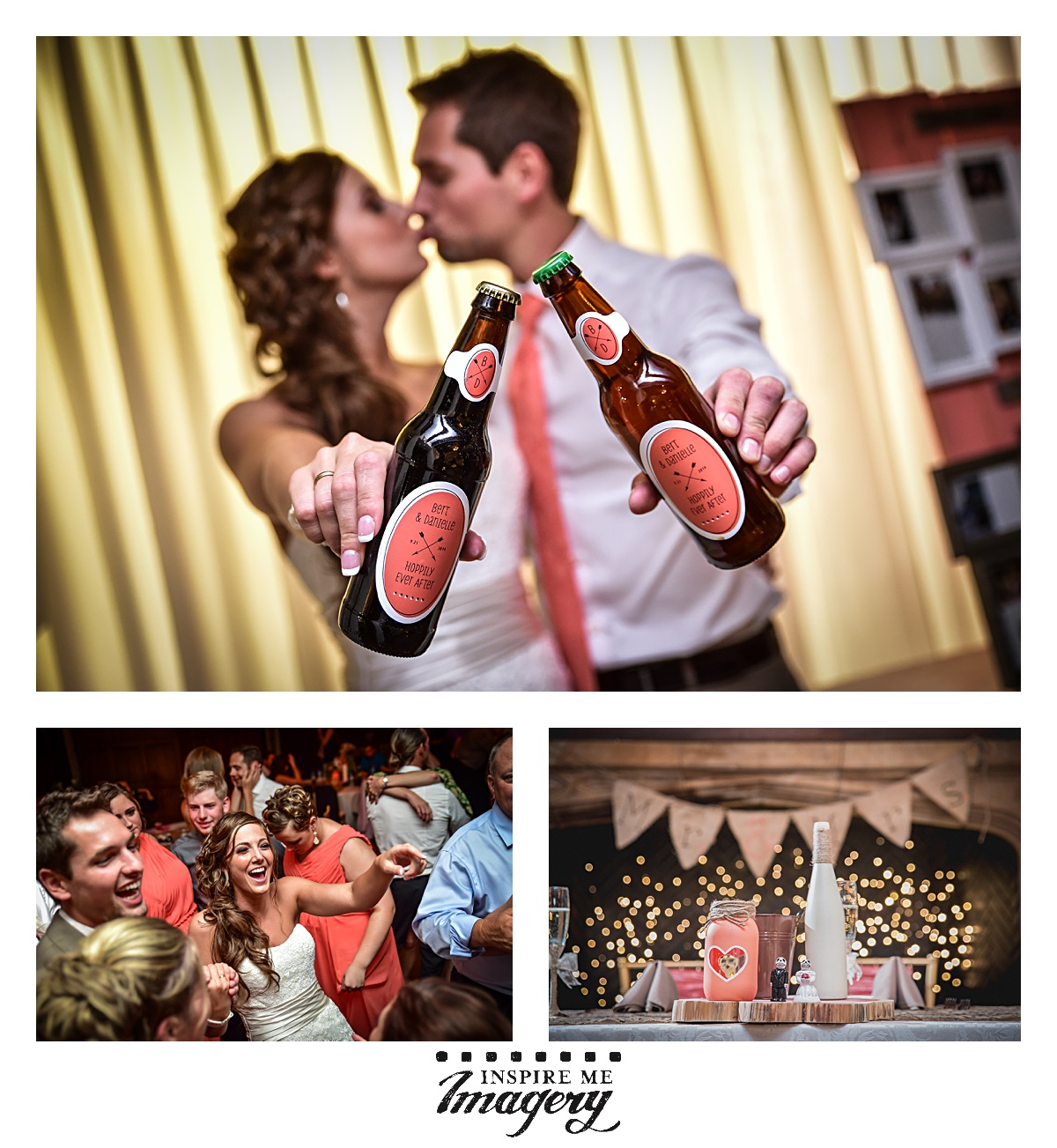 We loved the custom beer labels for the wedding!