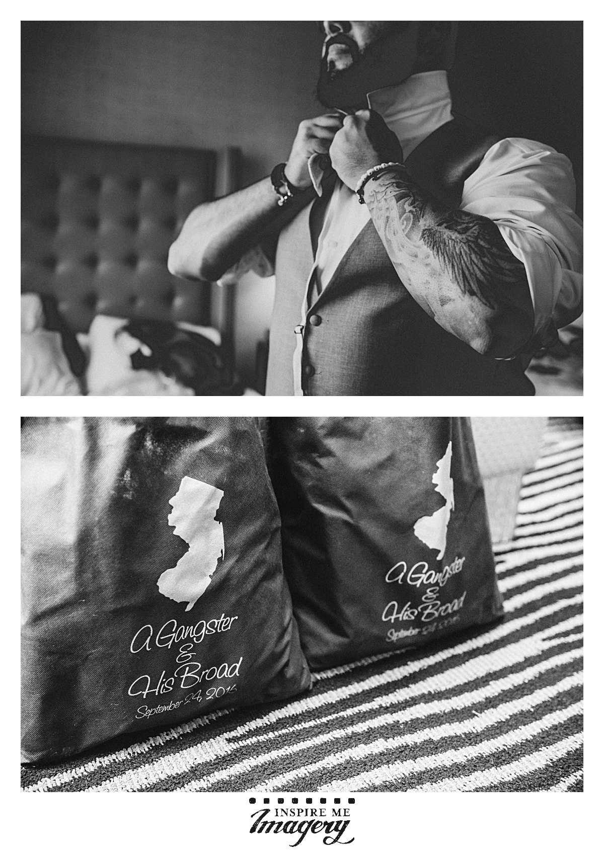 We have a soft spot for bitchin' tattoos. Also, look at these amazing wedding favor bags! A Gangster & His Broad. Looooove it.