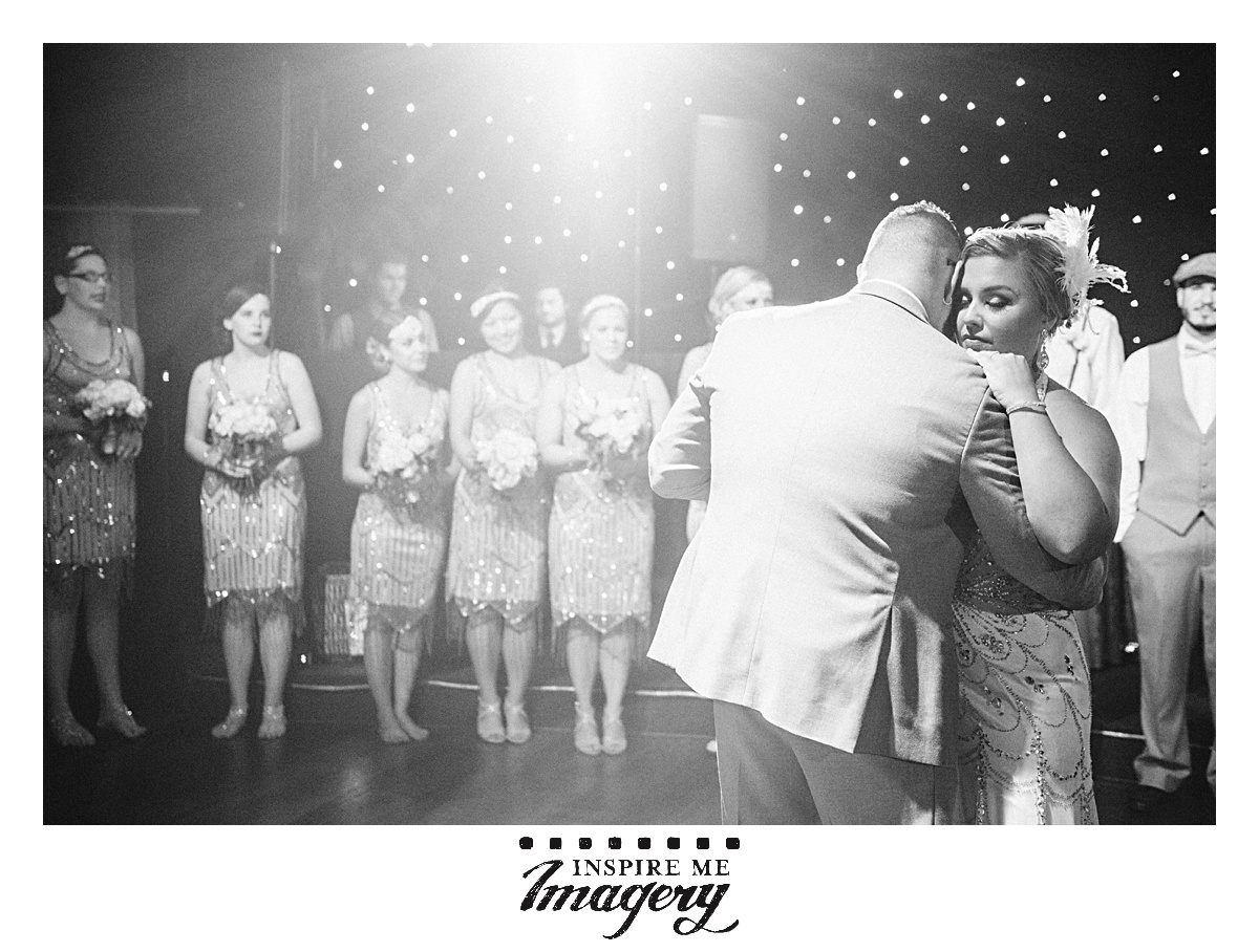 The spotlights from the band provided gorgeous light on the couple during their first dance.