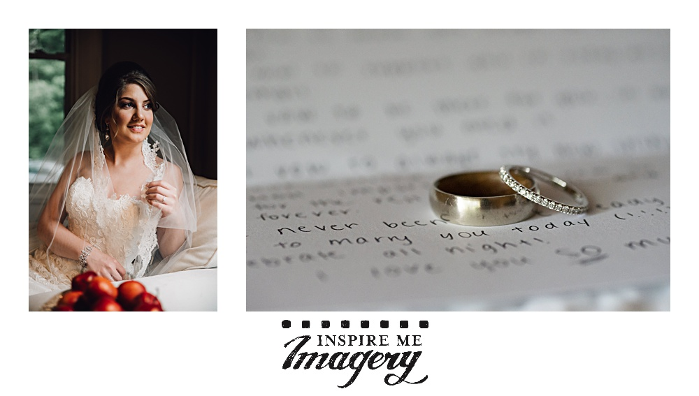 The apples give a great pop of color to this bridal portrait, and the wedding rings on the letter from the bride add a personal element to the ring shot.